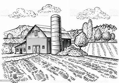 Farm Barn Sketch Windmill Rural Landscape Vector
