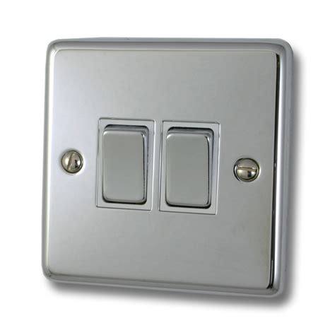 Polished Chrome Light Switch Gang White Insert