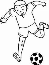 Coloring Soccer Football Player Playing Kid Futbol Pages Wecoloringpage sketch template