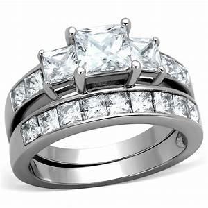 STAINLESS STEEL NEVER TARNISH WEDDINGENGAGEMENT SET 2