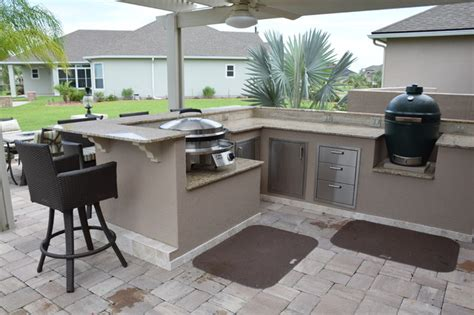 outdoor kitchen with green egg outdoor kitchen with pergola knee wall big green egg and