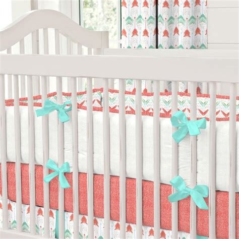 31680 coral baby bedding coral and teal arrow crib bedding carousel designs