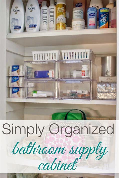 Bathroom Closet Organizers by Organized Bathroom Supply Cabinet Simply Organized