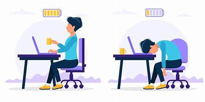 Office Worker Burnout Exhausted Happy Wellness Workplace