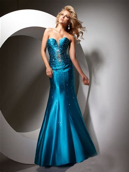 sparkly mermaid sweetheart long teal silk party prom dress
