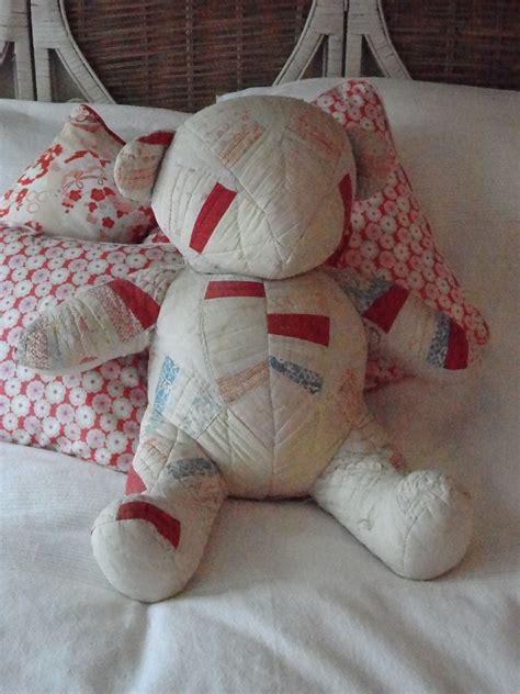 fabric  patchwork teddy bear