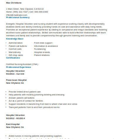 Hospital Volunteer Resume by 10 Sle Volunteer Resumes Sle Templates