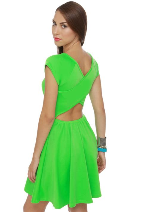 Cute Neon Green Dress - Short Sleeve Dress - $36.00