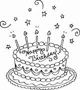 Coloring Cake Birthday Pages Printable sketch template