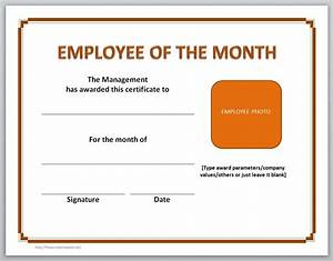 Employee Certificate Templates Free Employee Of The Month