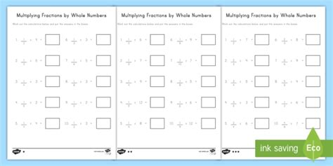 multiplying fractions by whole numbers differentiated worksheet worksheets