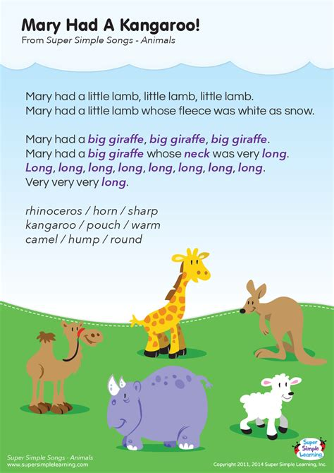 had a kangaroo lyrics poster simple 373 | lyrics poster mary had a kangaroo