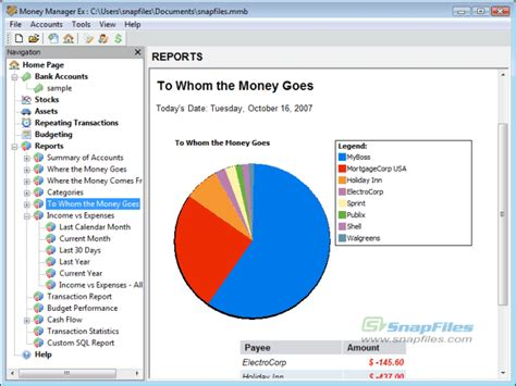 Money Manager Ex screenshot and download at SnapFiles.com