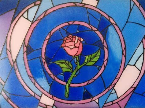 Beauty And The Beast Rose Stained Glass Wall Art.