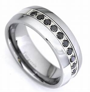 Black Diamond Tungsten Carbide Wedding Band Ring 035