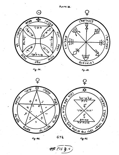 Illustrated page from the Key of Solomon depicting four pentacles. | Sigil magic, Magic book