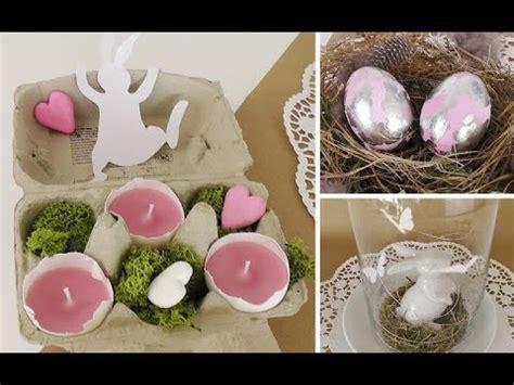 diy osterdeko mit schlagmetall eiern und teelichtern in eierschalen selber machen deko