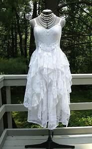 white tattered boho gypsy hippie alternative bride wedding With recycled wedding dresses