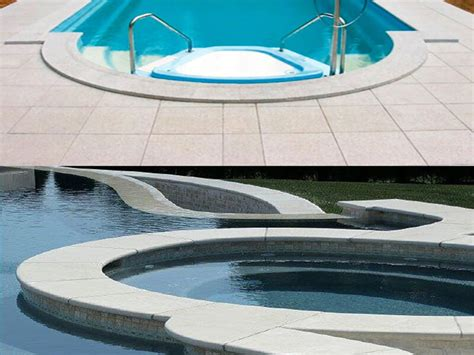 pool coping pavers with a drop bullnose tumbled