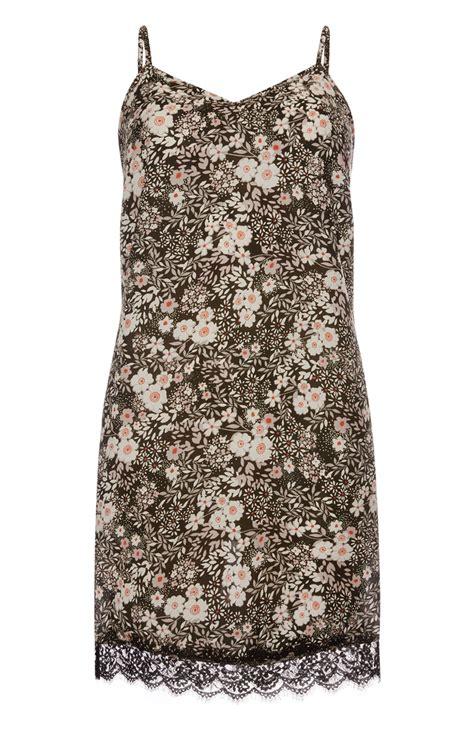 astonishing daisy print lace hem cami dress