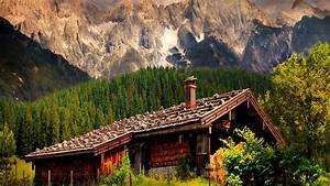 Mountains: Cabin Tirol Sky Lovely Mountain Vacation Cliffs ...