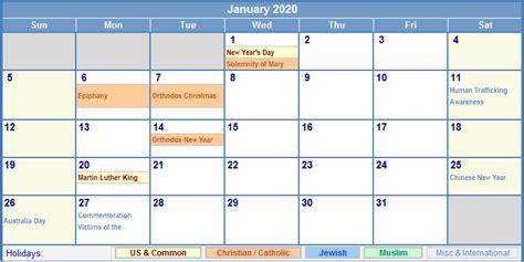 january calendar holidays printing image format