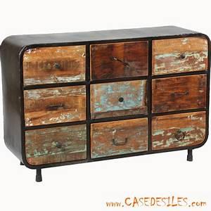 Commode Style Industriel : meuble entr e industriel acier bois recup 1862 ~ Teatrodelosmanantiales.com Idées de Décoration