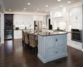Wood Mode Cabinet Hardware by Formal White Kitchen With Blue Island Mullet Cabinet