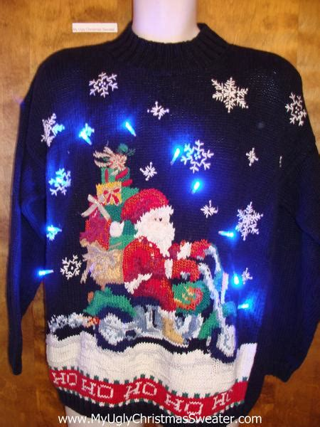 motorcycle santa sweater with lights