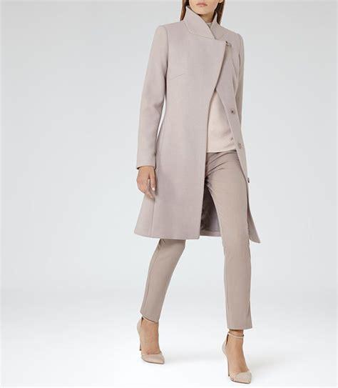 hutton parchment wrap collar coat reiss   coat