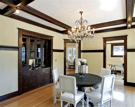 great dining room  dark trim dark wood trim dark