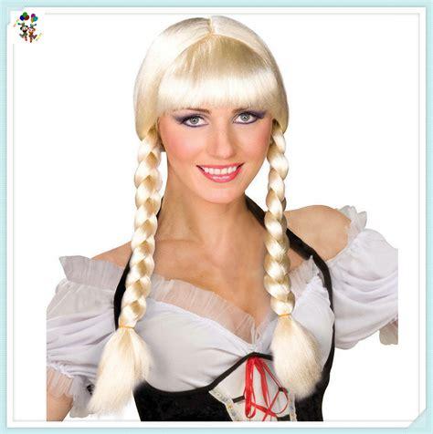german oktoberfest beer braids blonde pigtails synthetic