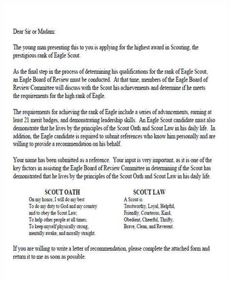eagle scout letter of recommendation 9 sle eagle scout recommendation letter templates