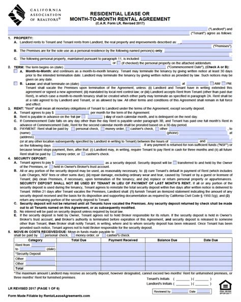 calif residential lease agreement  main group