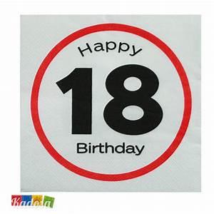 Tovaglioli 18 Anni Segnale Stradale Happy Birthday - Kadosa
