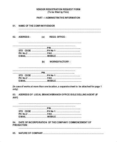 9 sle vendor request forms word pdf