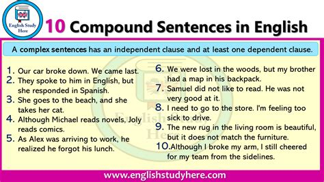 compound sentences  english english study