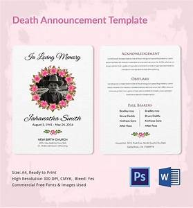 death announcement 5 word psd format download free With death resolution template