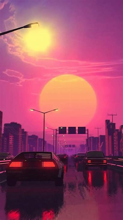 Aesthetic Vaporwave Sunset Iphone Wallpapers Plain Retro
