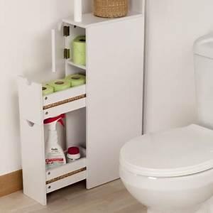 Meuble Salle De Bain Rangement : meuble de rangement toilettes ou salle de bains blanc ~ Dailycaller-alerts.com Idées de Décoration