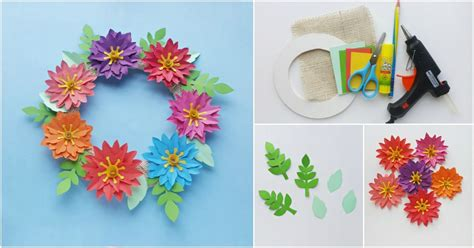 easy paper flower wreath   printable template