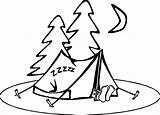 Camping Coloring Sleeping Pages Clipart sketch template