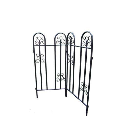 vigoro 32 in h black steel border garden fence