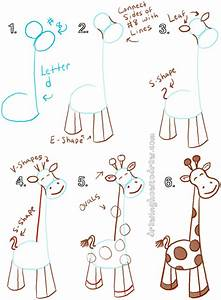 Big Guide to Drawing Cartoon Giraffes with Basic Shapes ...