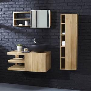 meuble suspendu teck salle de bain With meuble salle de bain design teck