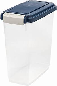 IRIS Airtight Pet Food Storage Container, Clear/Navy, 11 ...