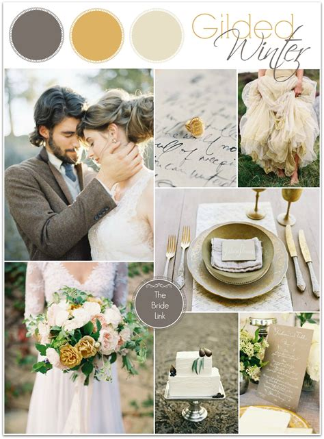 gold  gray winter wedding ideas bride link