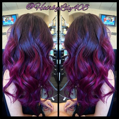 Pink Purple Ombré Balayage And Long Layer Haircut Yelp