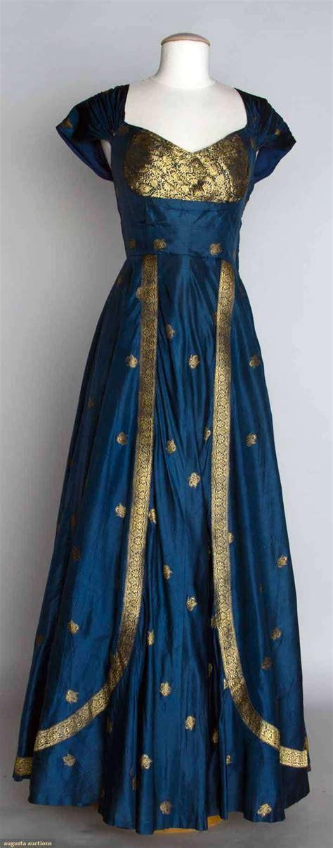 blue gold evening dress  blue silk taffeta