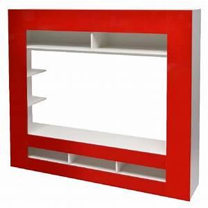 Meuble Tv Mural Blanc : meuble tv mural blanc rouge salon mobilier gifi ~ Dailycaller-alerts.com Idées de Décoration